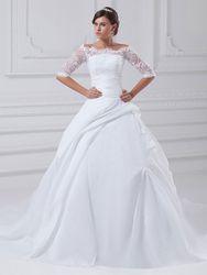 Milanoo Robe de mariée pirncesse en taffetas blanche demie-manche tansparente boutonée sur dos à traîne robe de mariage - milanoo.com - Modalova