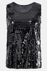 Shirt sans manches rayures pailletées doublé encolure ronde Grande Taille - Ulla Popken - Modalova
