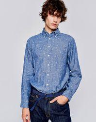 Chemise regular en Lin & Coton Goat à motifs étoiles bleue - Bellerose - Modalova