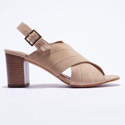 Sandales en Velours de Cuir beiges - Talon 7.5 cm - Apologie - Modalova