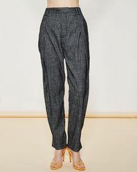Pantalon façon saroual taille haute noir/blanc - Giorgio Armani - Modalova