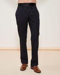 Pantalon en Laine mélangée coupe droite imprimé ton sur ton noir - Giorgio Armani - Modalova