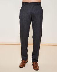 Pantalon coupe droite de costume gris chiné foncé - Giorgio Armani - Modalova