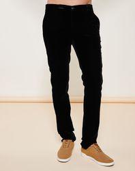 Pantalon coupe slim en velours noir - Giorgio Armani - Modalova