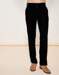 Pantalon coupe droite en velours noir - Giorgio Armani - Modalova