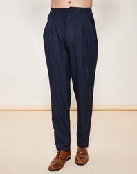 Pantalon coupe carotte bleu marine - Giorgio Armani - Modalova