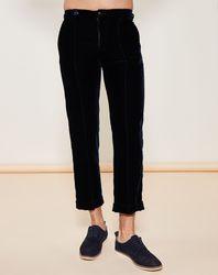 Pantalon droit cheville en velours Bleu corbeau - Giorgio Armani - Modalova
