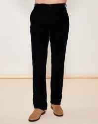 Pantalon coupe droite en velours bleu corbeau - Giorgio Armani - Modalova