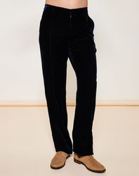 Pantalon coupe droite en velours bleu foncé - Giorgio Armani - Modalova