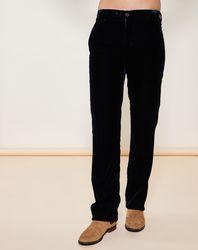 Pantalon droit en velours de cuir Bleu foncé - Giorgio Armani - Modalova