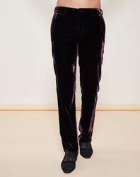 Pantalon coupe droite en Velours uni violet - Giorgio Armani - Modalova