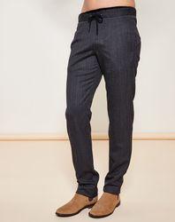 Pantalon Casual en Laine Vierge mélangée chiné gris foncé - Giorgio Armani - Modalova