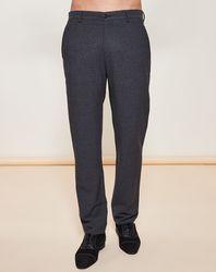 Pantalon coupe droite texturé en Laine mélangée gris foncé - Giorgio Armani - Modalova
