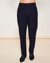Pantalon coupe droite uni marine - Giorgio Armani - Modalova