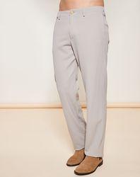 Pantalon coupe évasée en Laine Vierge mélangée texturé beige - Giorgio Armani - Modalova