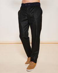 Pantalon taille élastique en Velours uni vert foncé/marine - Giorgio Armani - Modalova