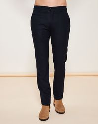 Pantalon coupe droite texturé marine - Giorgio Armani - Modalova