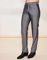 Pantalon coupe droite en Laine mélangée gris foncé - Giorgio Armani - Modalova