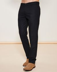 Pantalon coupe droite uni noir - Giorgio Armani - Modalova