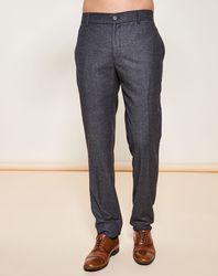 Pantalon coupe droite 100% Laine Vierge chiné gris foncé - Giorgio Armani - Modalova
