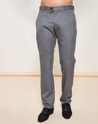 Pantalon coupe droite en Laine Vierge mélangée gris chiné - Giorgio Armani - Modalova
