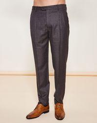 Pantalon 100% Laine Vierge imprimé petit carreaux marron - Giorgio Armani - Modalova