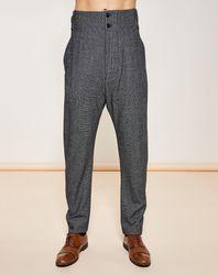 Pantalon façon saroual taille haute chiné gris foncé - Giorgio Armani - Modalova