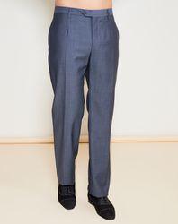 Pantalon 100% Laine Vierge uni bleu/gris - Giorgio Armani - Modalova