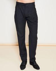 Pantalon 100% Laine Vierge chiné gris foncé - Giorgio Armani - Modalova