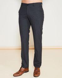 Pantalon fluide coupe droite chiné gris foncé - Giorgio Armani - Modalova