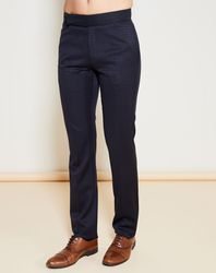 Pantalon en Laine & Soie mélangée carreaux ton sur ton marine - Giorgio Armani - Modalova