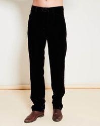 Pantalon coupe évasée en velours uni marron foncé - Giorgio Armani - Modalova