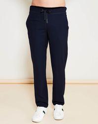 Pantalon Casual en Laine Vierge mélangée & lisérés en Velours marine/noir - Giorgio Armani - Modalova