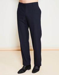 Pantalon coupe droite fluide marine - Giorgio Armani - Modalova
