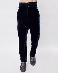 Pantalon taille haute en velours unie bleu marine - Giorgio Armani - Modalova