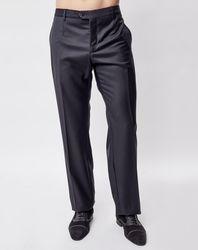 Pantalon coupe droite fluide uni gris chiné - Giorgio Armani - Modalova