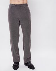 Pantalon coupe droite chiné gris foncé - Giorgio Armani - Modalova