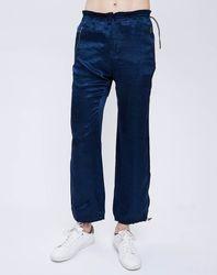Pantalon taille élastique bleu marine - John Galliano - Modalova