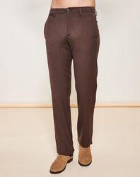 Pantalon coupe droite en Laine Vierge mélangée texturé marron - Giorgio Armani - Modalova