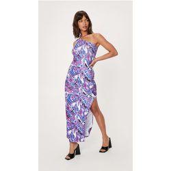 Wave Print One Shoulder Side Split Maxi Dress - Nasty Gal - Modalova
