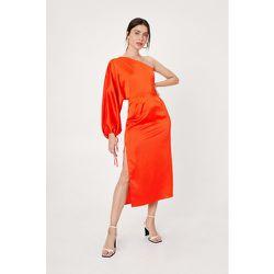 Satin One Shoulder Midi Slip Dress - Nasty Gal - Modalova