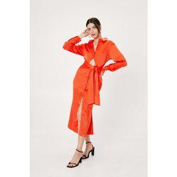 Cut Out Tie Front Midi Shirt Dress - Nasty Gal - Modalova