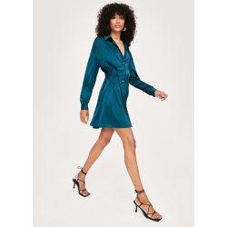 Satin Ruched Front Mini Shirt Dress - Nasty Gal - Modalova