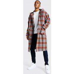 Manteau long à carreaux avec capuche - Boohooman - Modalova