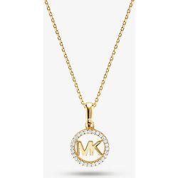 MK Collier à breloque logo plaqué en métal précieux avec pierres pavées - Michael Kors - Modalova