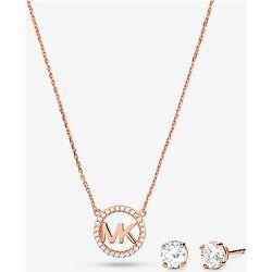 MK Parure clous doreilles et collier serti pavé à breloque logo en argent sterling plaqué or rose 14carats - Michael Kors - Modalova