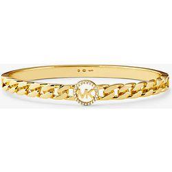 MK Bracelet rigide à maillons gourmette en argent sterling plaqué or 14carats avec pierres pavées et logo - Michael Kors - Modalova