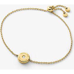 MK Bracelet à glissière en argent sterling plaqué or 14carats avec logo et diamant de synthèse - Michael Kors - Modalova