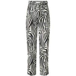 Pantalon ample taille haute Zebra avec ceinture et imprimé zèbre - Mango - Modalova