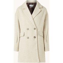 Manteau long croisé en laine à motif chevrons - Mango - Modalova